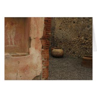 Cartão Pompeii - lararium da parede - pintura na ameia