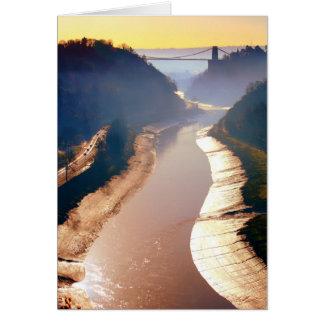 Cartão Ponte de suspensão de Cliton na névoa