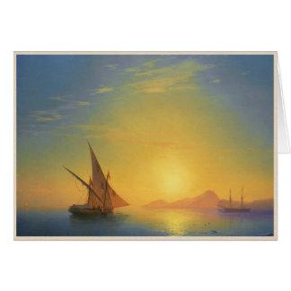 Cartão Por do sol sobre águas do seascape de Ivan