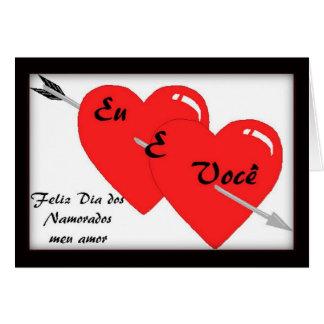 Cartão português do feliz dia dos namorados