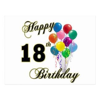 Cartão Postal 18os presentes de aniversário felizes