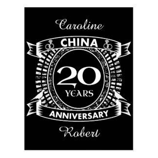 Cartão Postal 20a porcelana do aniversário de casamento
