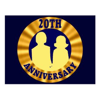 Cartão Postal 20o Aniversário de casamento