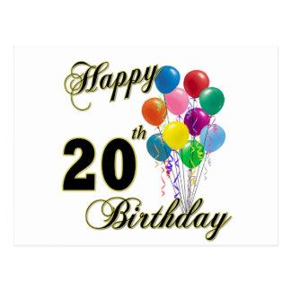 Cartão Postal 20o aniversário feliz com balões