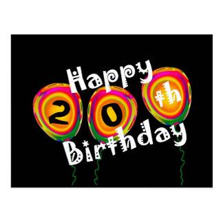 Cartão Postal 20o Balões coloridos do aniversário