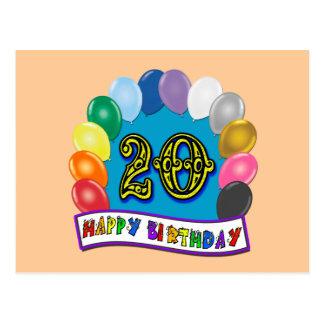 Cartão Postal 20o Presentes de aniversário com design Assorted
