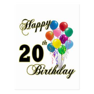 Cartão Postal 20os presentes de aniversário e roupa felizes do
