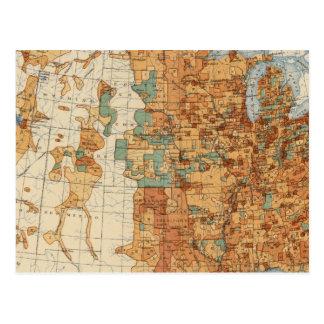 Cartão Postal 25 densidades do aumento da população, E.U.,