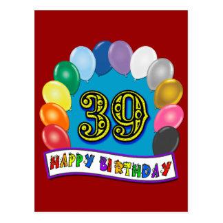Cartão Postal 39th arco feliz do balão do aniversário