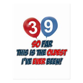 Cartão Postal 39th design do aniversário dos anos de idade