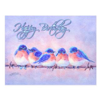 Cartão Postal 5 BLUEBIRDS em um FIO & em um TEXTO por SHARON