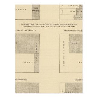 Cartão Postal 89 assalariados, classificados 1900