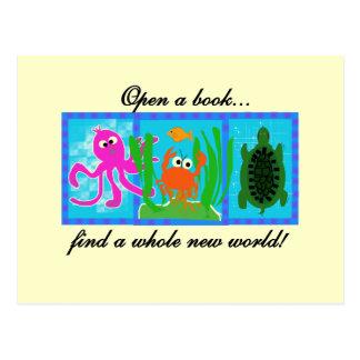 Cartão Postal A aventura submarina abre um livro