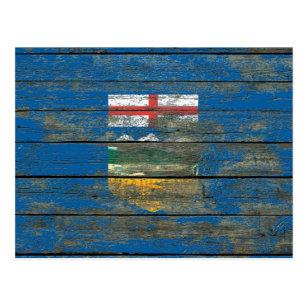 Cartão Postal A bandeira de Alberta na madeira áspera embarca o