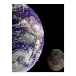 Cartão Postal A terra e a lua