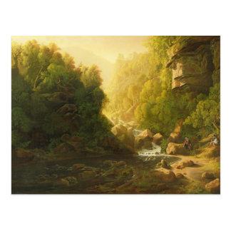 Cartão Postal A torrente da montanha, c.1820-30 (óleo em canvas)