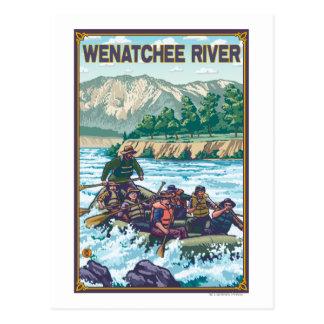 Cartão Postal Água branca que transporta - rio de Wenatchee,