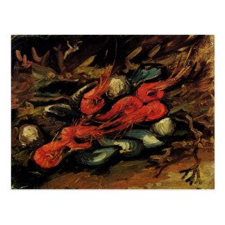 Cartão Postal Ainda vida com mexilhões e camarões por Van Gogh
