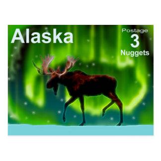 Cartão Postal Alces da aurora boreal