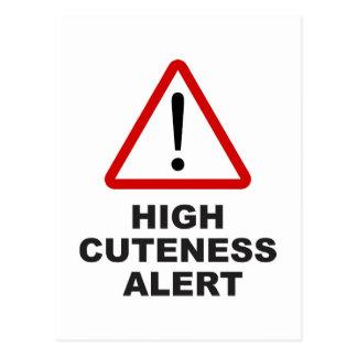 Cartão Postal Alerta alto do cuteness do cuidado