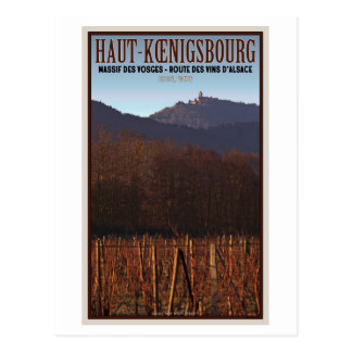 Cartão Postal Alsácia - castelo Koenigsbourg e vinhedo