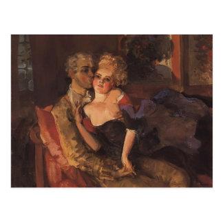Cartão Postal Amantes de Konstantin Somov-. Nivelamento