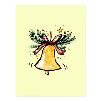 Cartão Postal Amarelo Jingle Bell do presente do ano novo do
