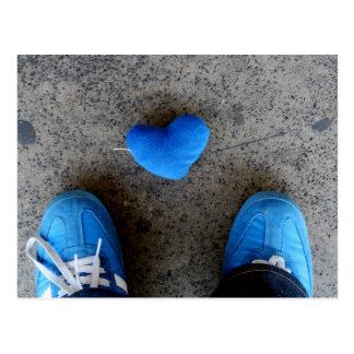 Cartão Postal Amor azul do coração