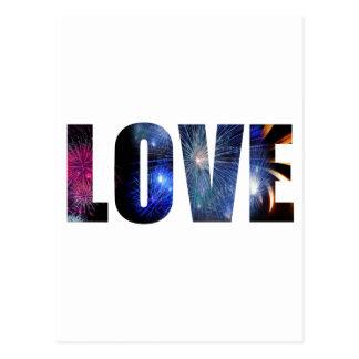 Cartão Postal Amor como o design dos fogos-de-artifício