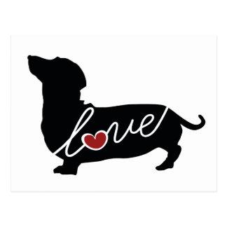 Cartão Postal Amor do cão do Wiener de Dashund
