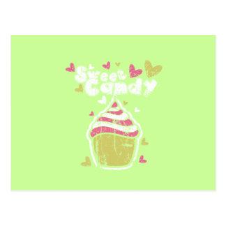 Cartão Postal Amor doce do petisco das sobremesas da comida dos