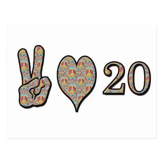 Cartão Postal Amor e 20 da paz