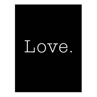 Cartão Postal Amor. Modelo preto e branco das citações do amor