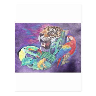Cartão Postal Animais selvagens da floresta húmida na harmonia