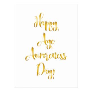 Cartão Postal Aniversário engraçado do ouro feliz do dia da