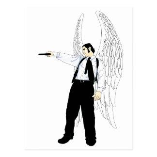 Cartão Postal Anjo do Hitman do deus com uma pistola