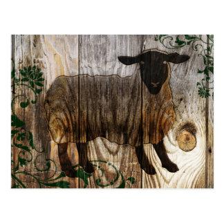 Cartão Postal ano novo chinês dos carneiros de madeira 2015