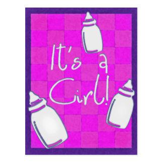 Cartão Postal Anúncio cor-de-rosa do nascimento do tabuleiro de