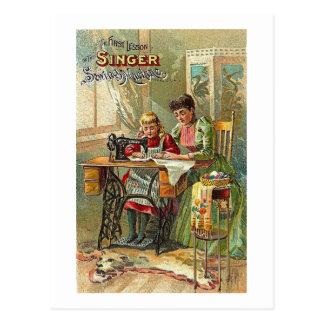 """Cartão Postal Anúncio da máquina de costura do cantor """"a"""