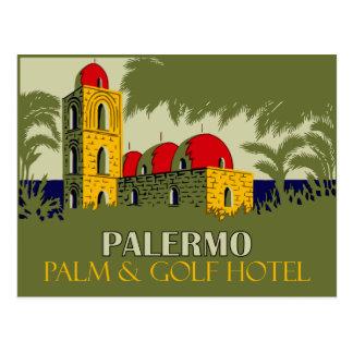 Cartão Postal Anúncio retro do viagem do hotel de Palermo