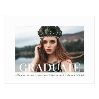 Cartão Postal Anúncio simples da graduação da foto do estilo |