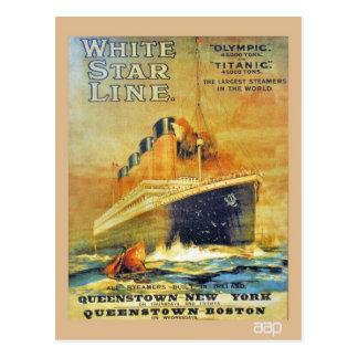 Cartão Postal Anúncio titânico & olímpico da linha branca da