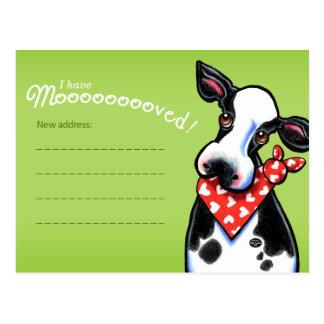 Cartão Postal Anúncios movidos do endereço da mudança da vaca do