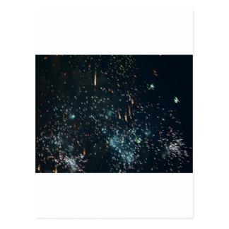 Cartão Postal aqua do respingo do meteoro dos fogos-de-artifício