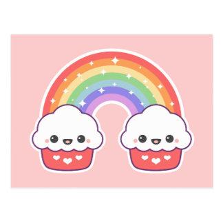 Cartão Postal Arco-íris do cupcake de Kawaii