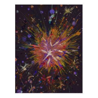 Cartão Postal Arte abstracta alaranjada e preta de Starburst