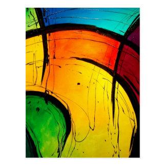 Cartão Postal Arte abstracta brilhante Funky das cores