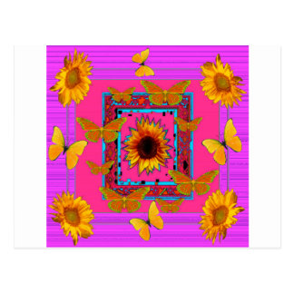 Cartão Postal arte cor-de-rosa das borboletas amarelas dos
