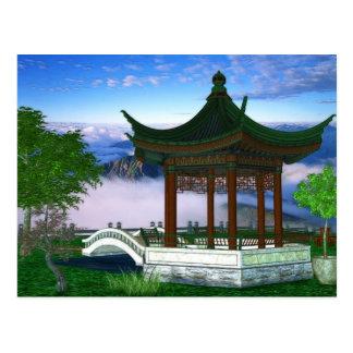 Cartão Postal Arte da fantasia da paisagem da natureza do pagode