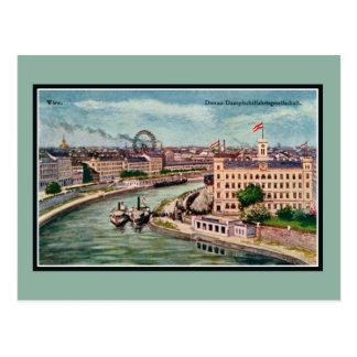 Cartão Postal Arte de Viena Áustria Danube River do vintage
